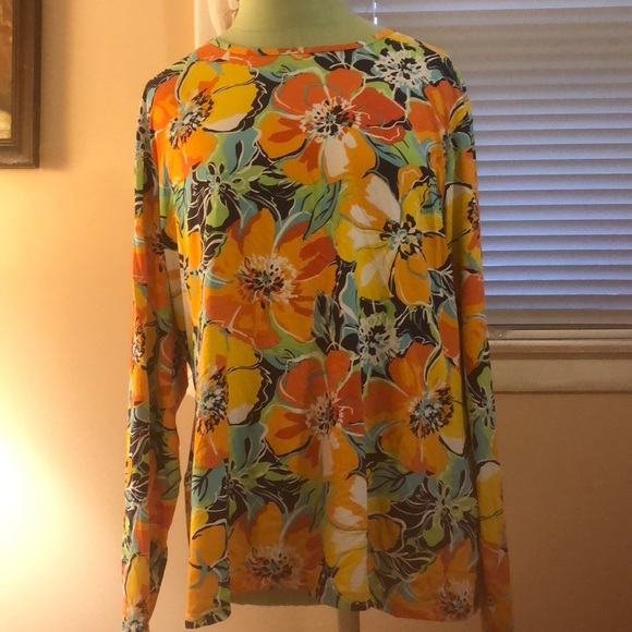 Lands end floral blouse